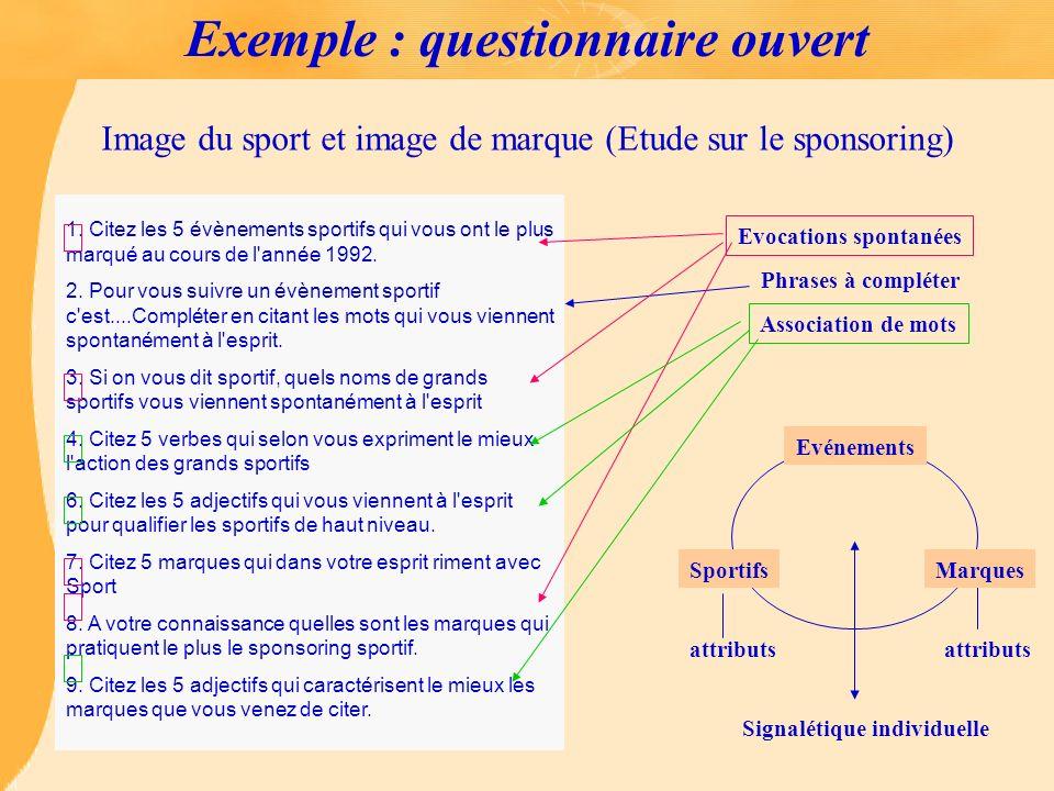 Exemple : questionnaire ouvert