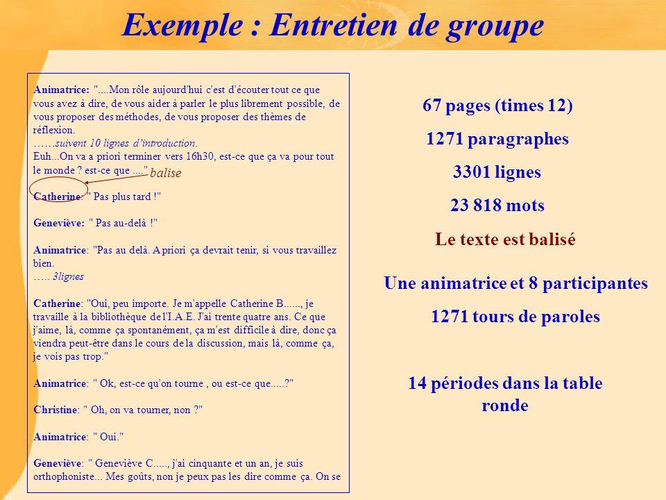 Exemple : Entretien de groupe