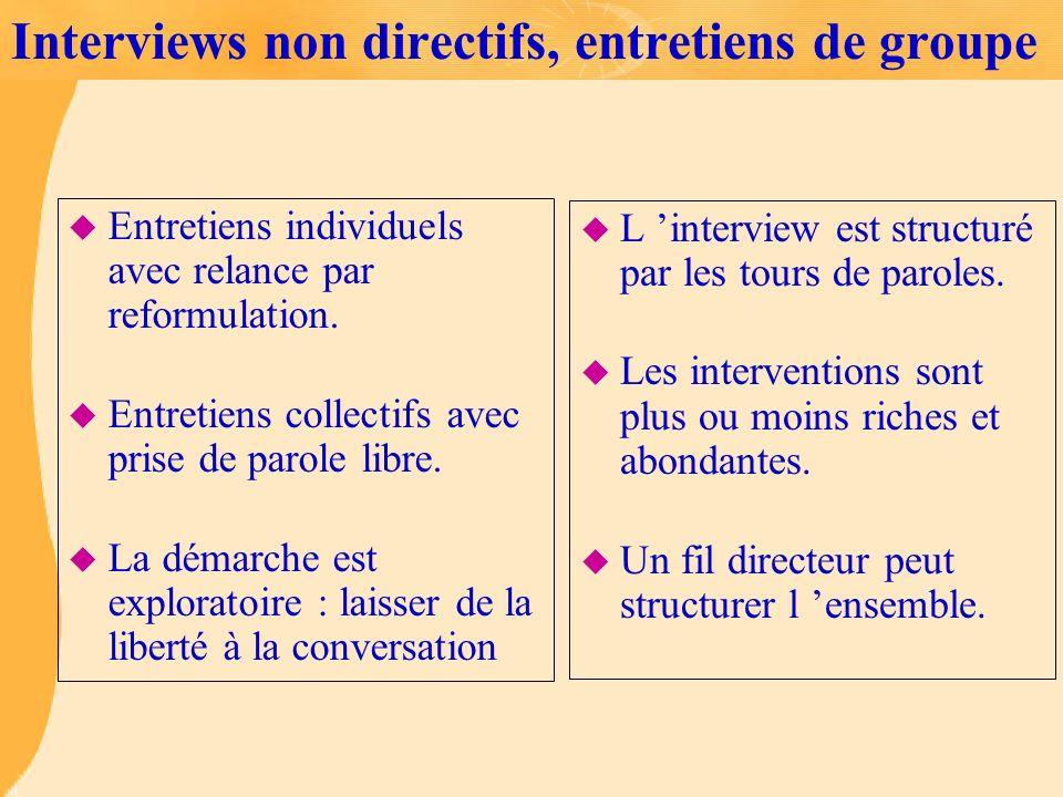 Interviews non directifs, entretiens de groupe
