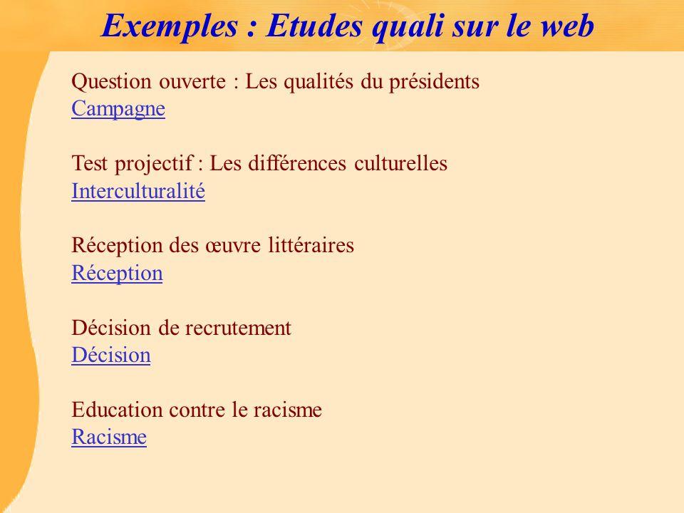 Exemples : Etudes quali sur le web