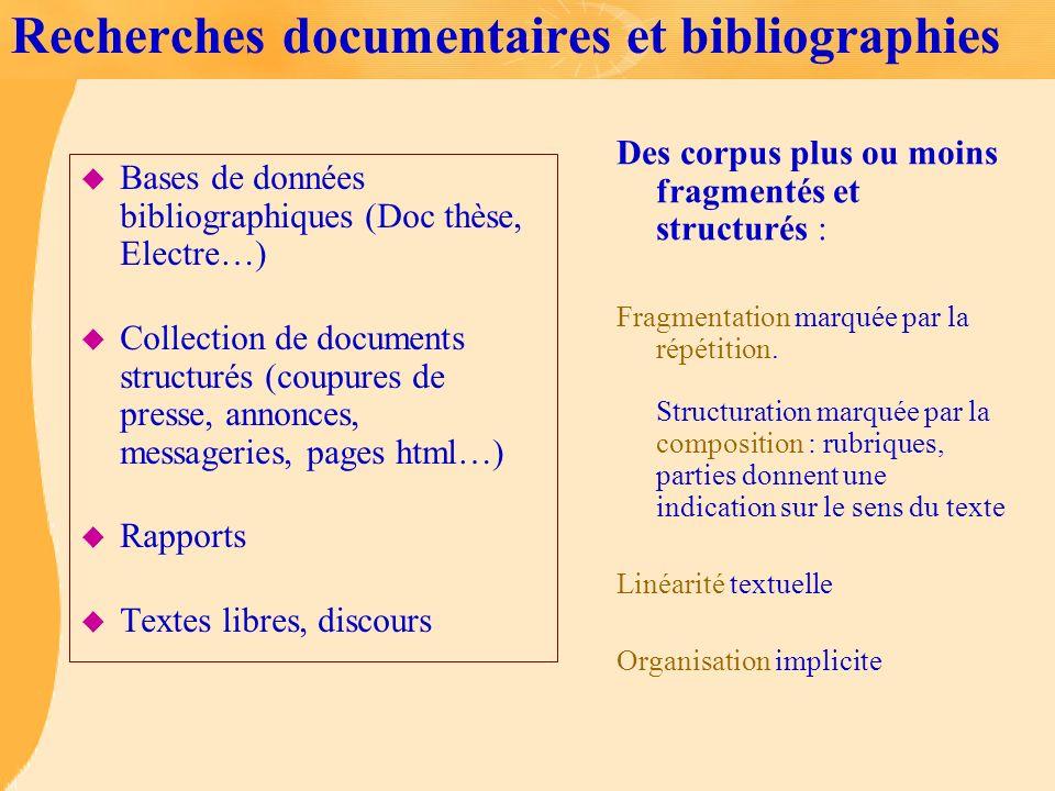 Recherches documentaires et bibliographies