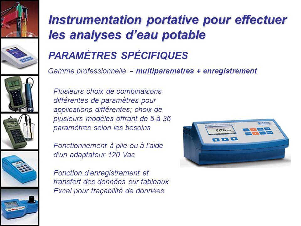 Instrumentation portative pour effectuer les analyses d'eau potable