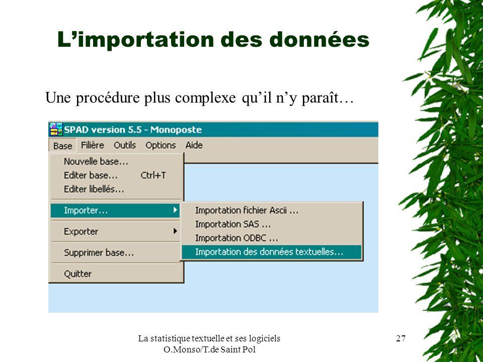 L'importation des données