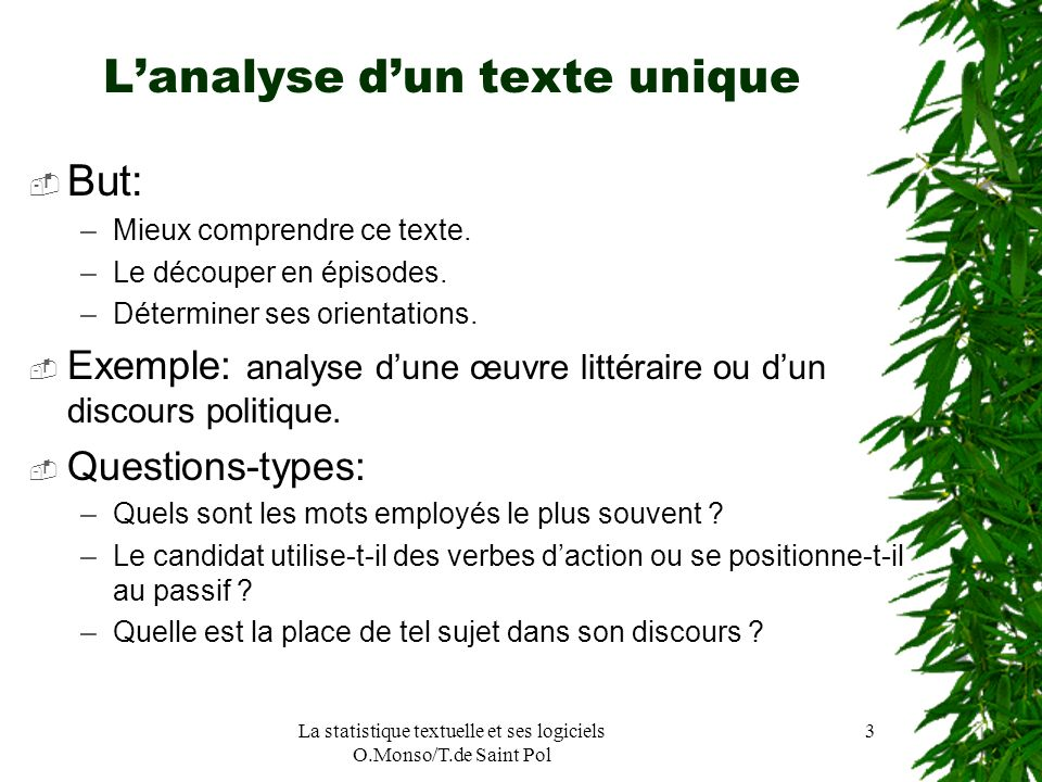 L'analyse d'un texte unique