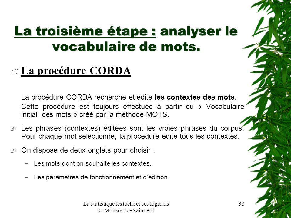 La troisième étape : analyser le vocabulaire de mots.