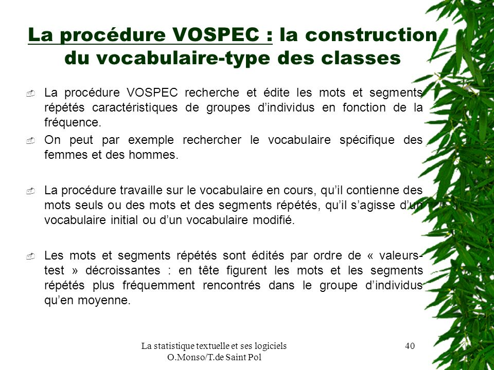 La procédure VOSPEC : la construction du vocabulaire-type des classes