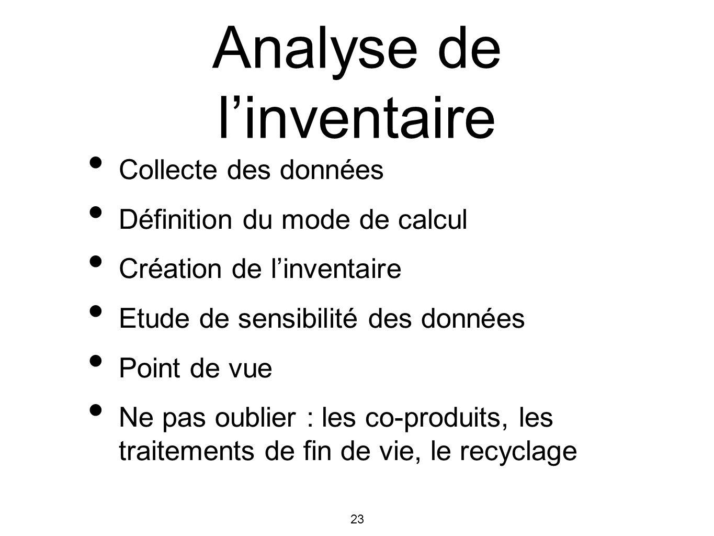 Analyse de l'inventaire
