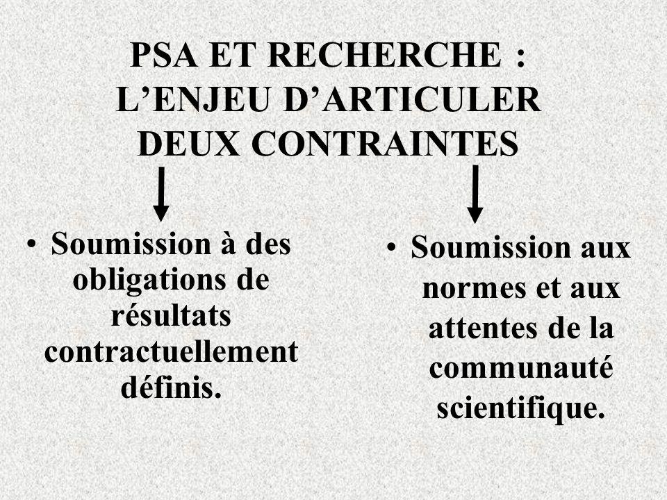 PSA ET RECHERCHE : L'ENJEU D'ARTICULER DEUX CONTRAINTES
