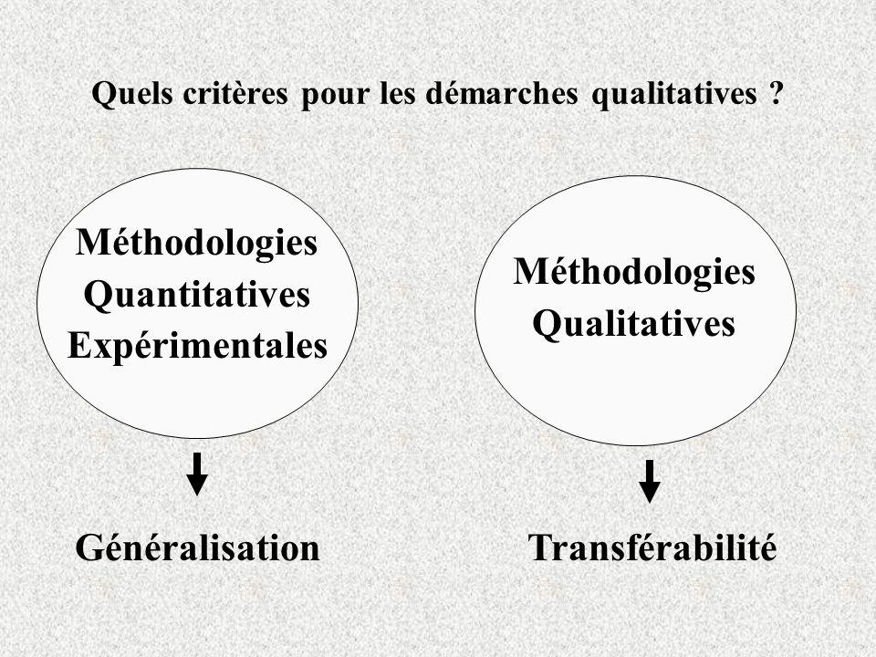 Quels critères pour les démarches qualitatives