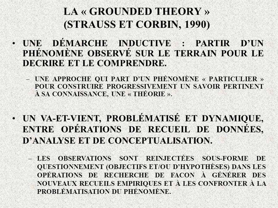LA « GROUNDED THEORY » (STRAUSS ET CORBIN, 1990)