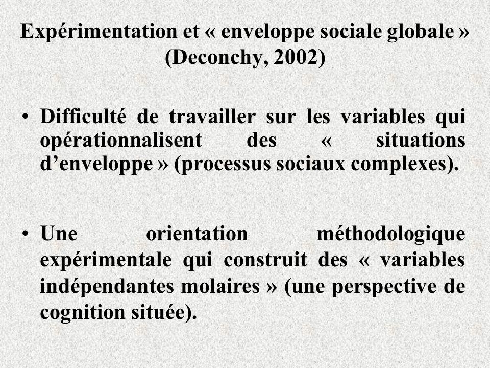Expérimentation et « enveloppe sociale globale » (Deconchy, 2002)