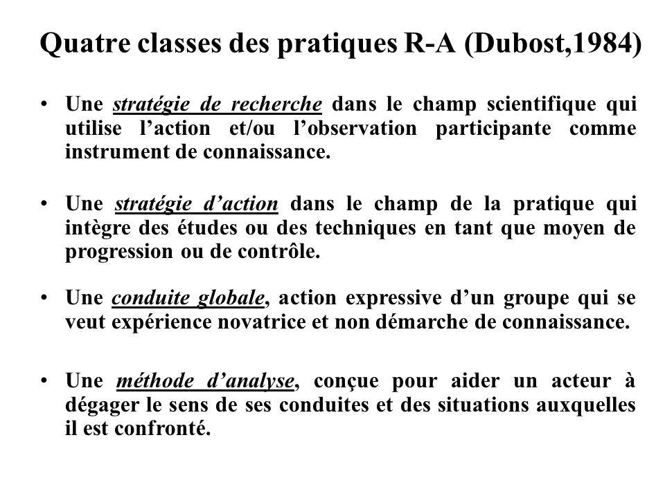 Quatre classes des pratiques R-A (Dubost,1984)