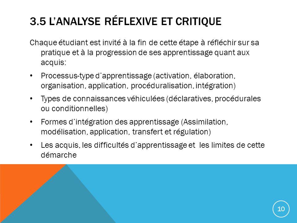 3.5 L'analyse réflexive et critique