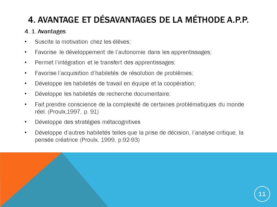 4. Avantage et désavantages de la méthode A.P.P.