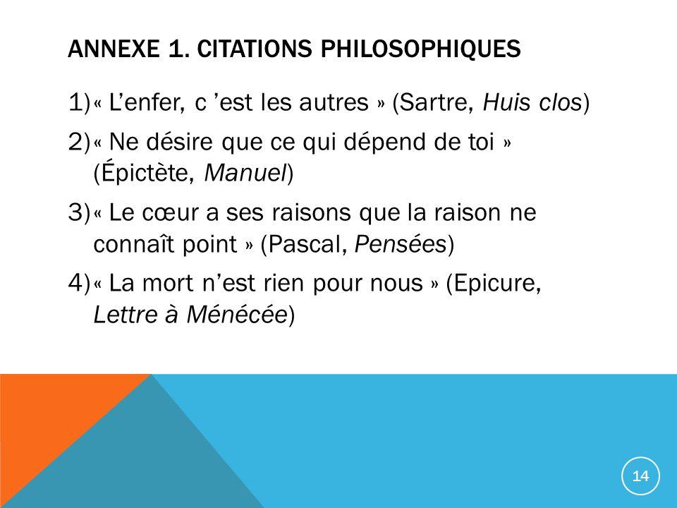 Annexe 1. Citations philosophiques