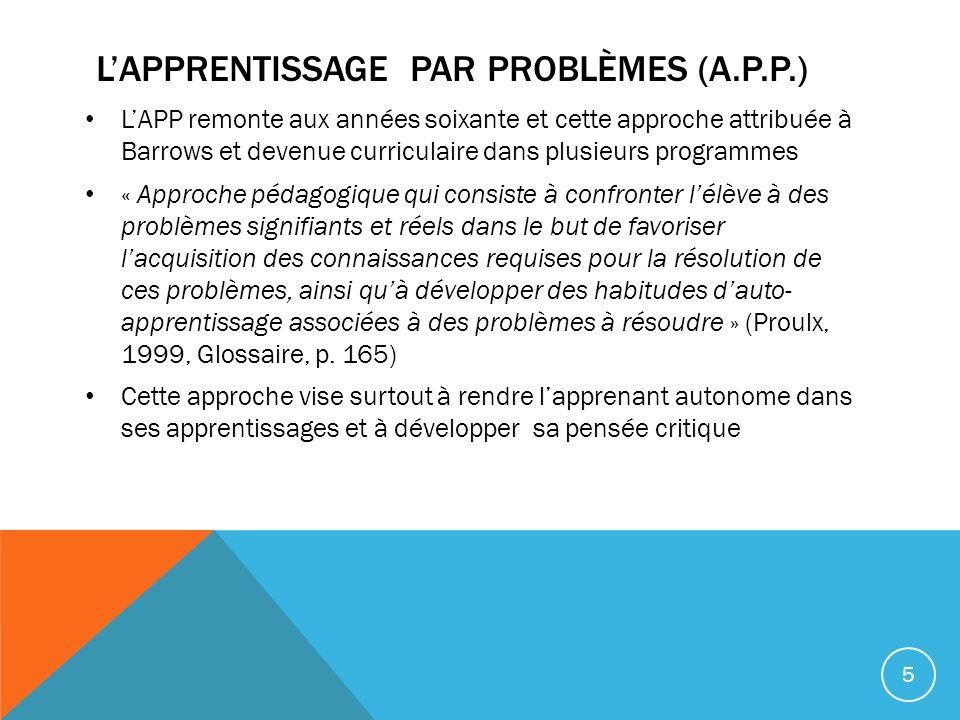L'apprentissage par problèmes (A.P.P.)