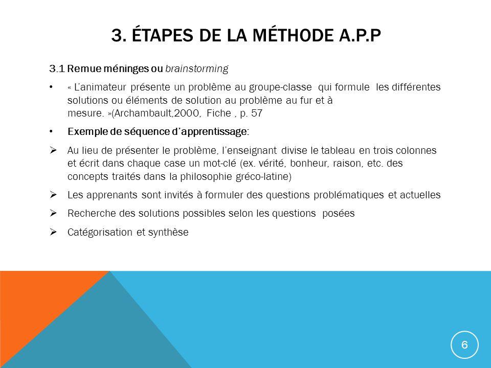 3. Étapes de la méthode A.P.P