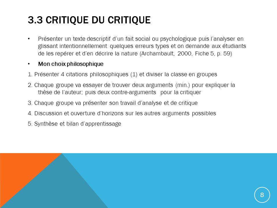 3.3 Critique du critique