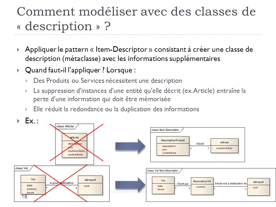 Comment modéliser avec des classes de « description »
