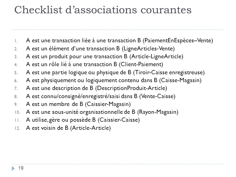 Checklist d'associations courantes