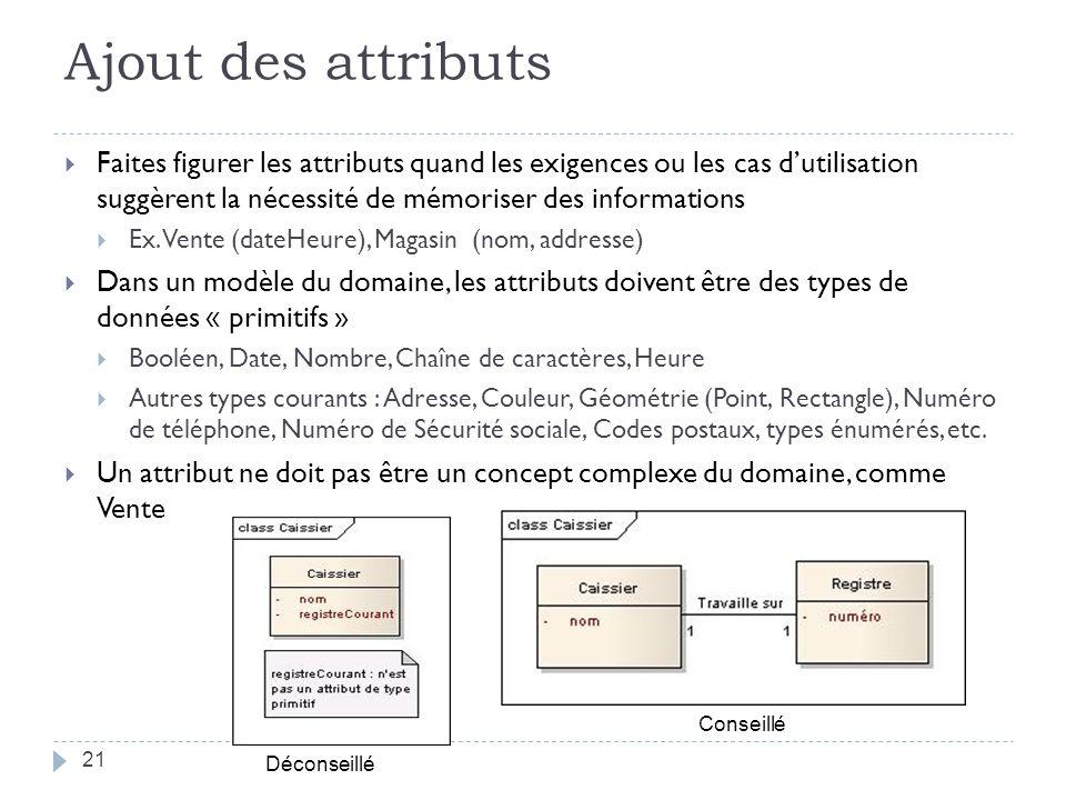 Ajout des attributs Faites figurer les attributs quand les exigences ou les cas d'utilisation suggèrent la nécessité de mémoriser des informations.