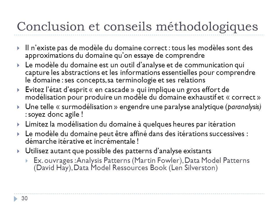 Conclusion et conseils méthodologiques