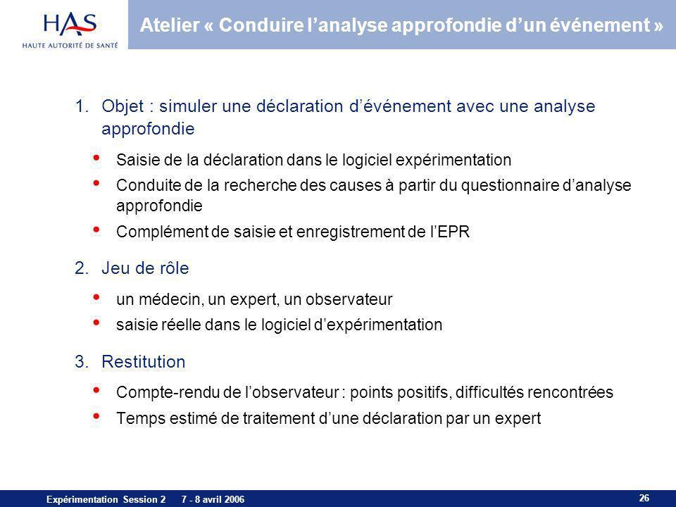 Atelier « Conduire l'analyse approfondie d'un événement »