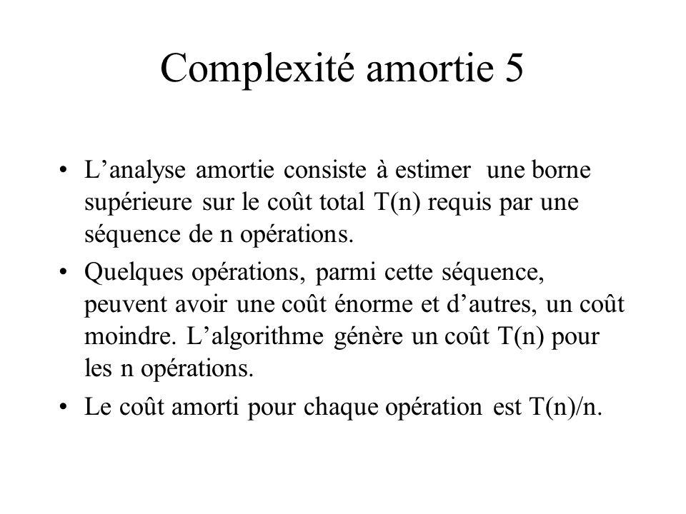 Complexité amortie 5 L'analyse amortie consiste à estimer une borne supérieure sur le coût total T(n) requis par une séquence de n opérations.