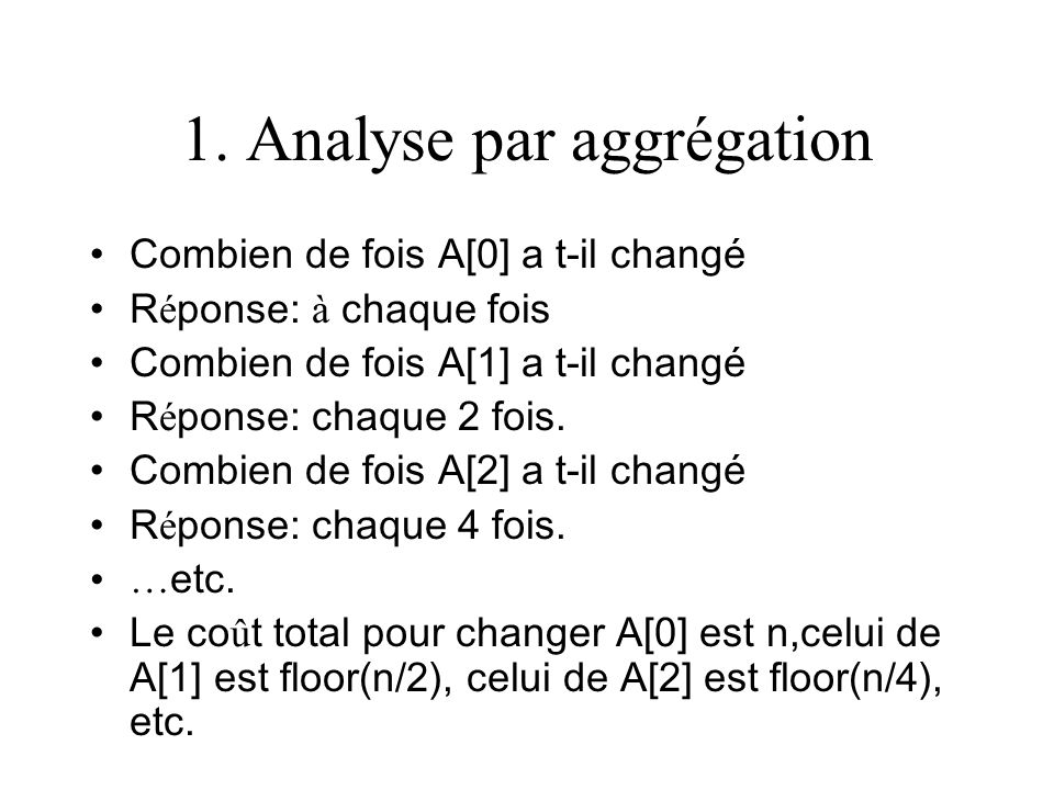 1. Analyse par aggrégation