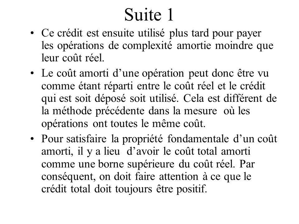 Suite 1 Ce crédit est ensuite utilisé plus tard pour payer les opérations de complexité amortie moindre que leur coût réel.
