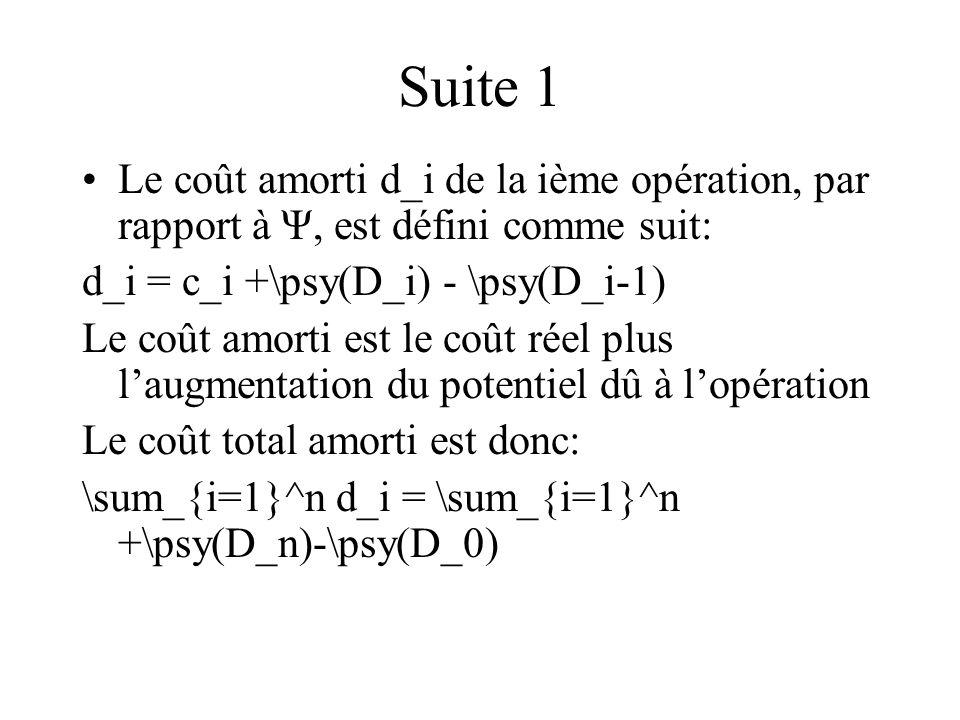 Suite 1 Le coût amorti d_i de la ième opération, par rapport à Ψ, est défini comme suit: d_i = c_i +\psy(D_i) - \psy(D_i-1)