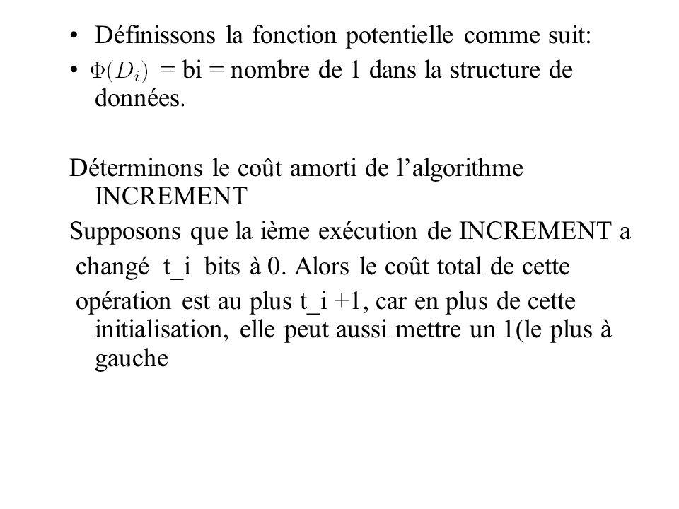 Définissons la fonction potentielle comme suit:
