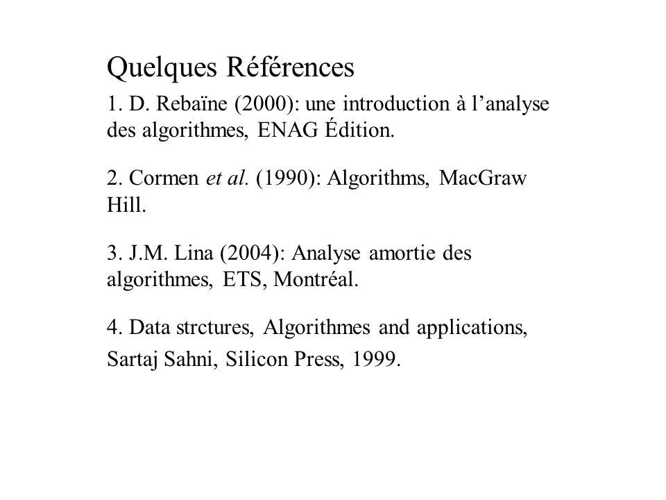 Quelques Références 1. D. Rebaïne (2000): une introduction à l'analyse des algorithmes, ENAG Édition.