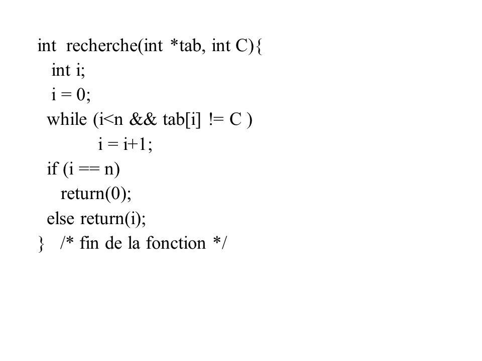int recherche(int *tab, int C){