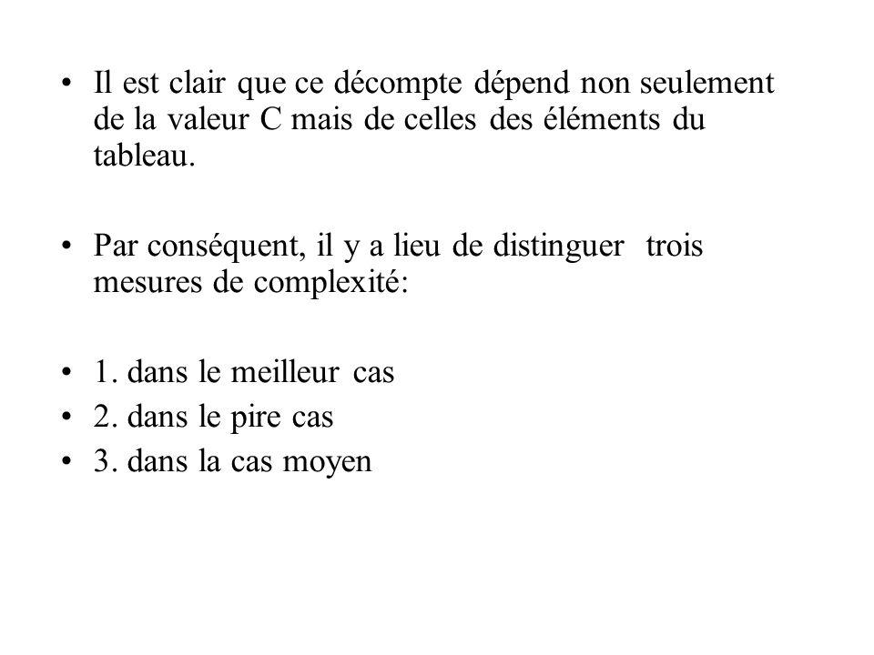 Il est clair que ce décompte dépend non seulement de la valeur C mais de celles des éléments du tableau.