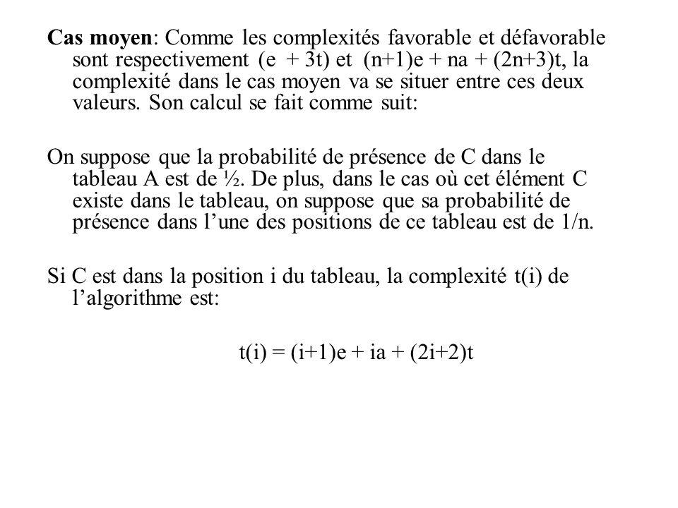 Cas moyen: Comme les complexités favorable et défavorable sont respectivement (e + 3t) et (n+1)e + na + (2n+3)t, la complexité dans le cas moyen va se situer entre ces deux valeurs. Son calcul se fait comme suit: