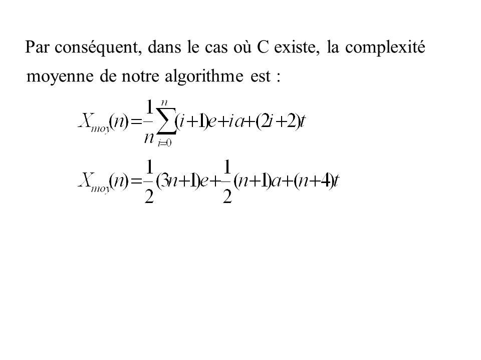 moyenne de notre algorithme est :