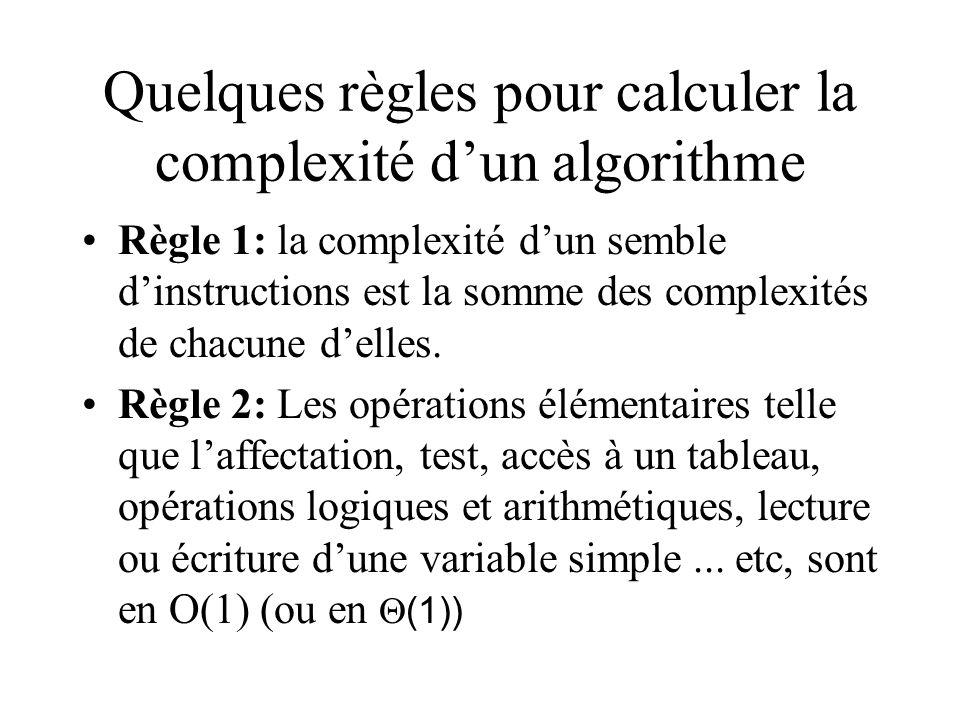 Quelques règles pour calculer la complexité d'un algorithme