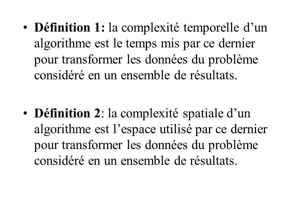 Définition 1: la complexité temporelle d'un algorithme est le temps mis par ce dernier pour transformer les données du problème considéré en un ensemble de résultats.