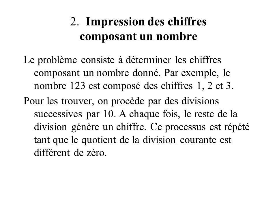 2. Impression des chiffres composant un nombre