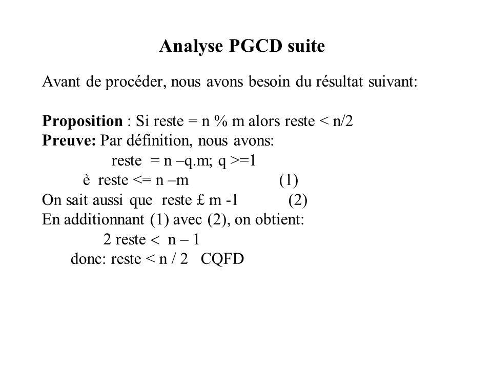 Analyse PGCD suite Avant de procéder, nous avons besoin du résultat suivant: Proposition : Si reste = n % m alors reste < n/2.