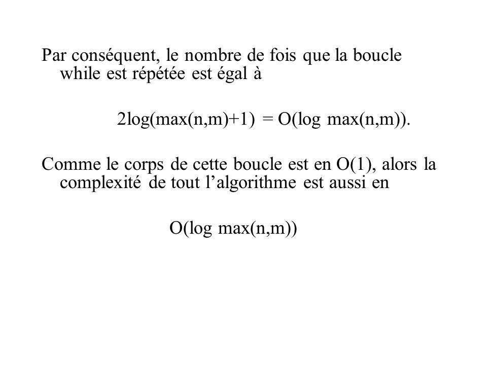 Par conséquent, le nombre de fois que la boucle while est répétée est égal à