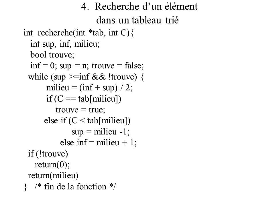 4. Recherche d'un élément dans un tableau trié