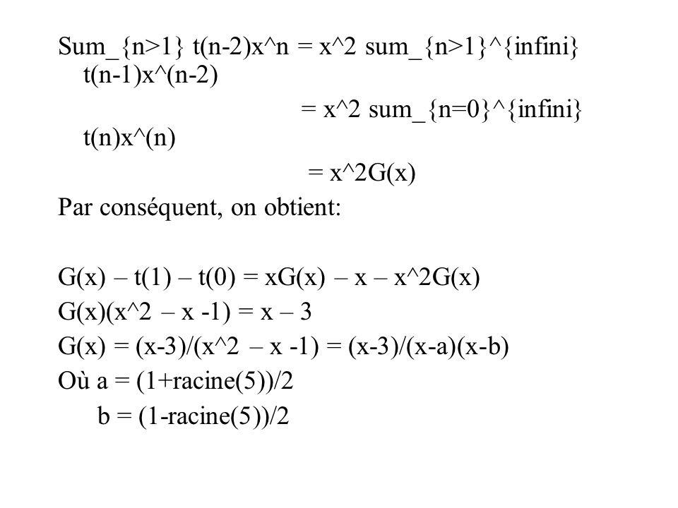 Sum_{n>1} t(n-2)x^n = x^2 sum_{n>1}^{infini} t(n-1)x^(n-2)