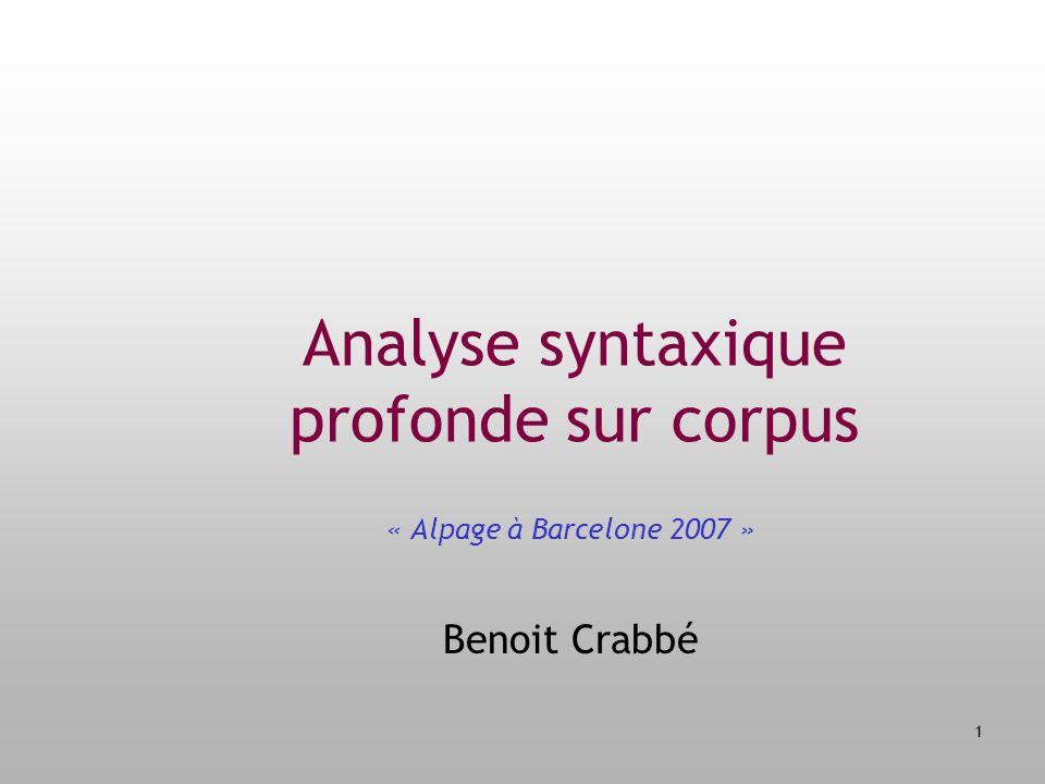 Analyse syntaxique profonde sur corpus