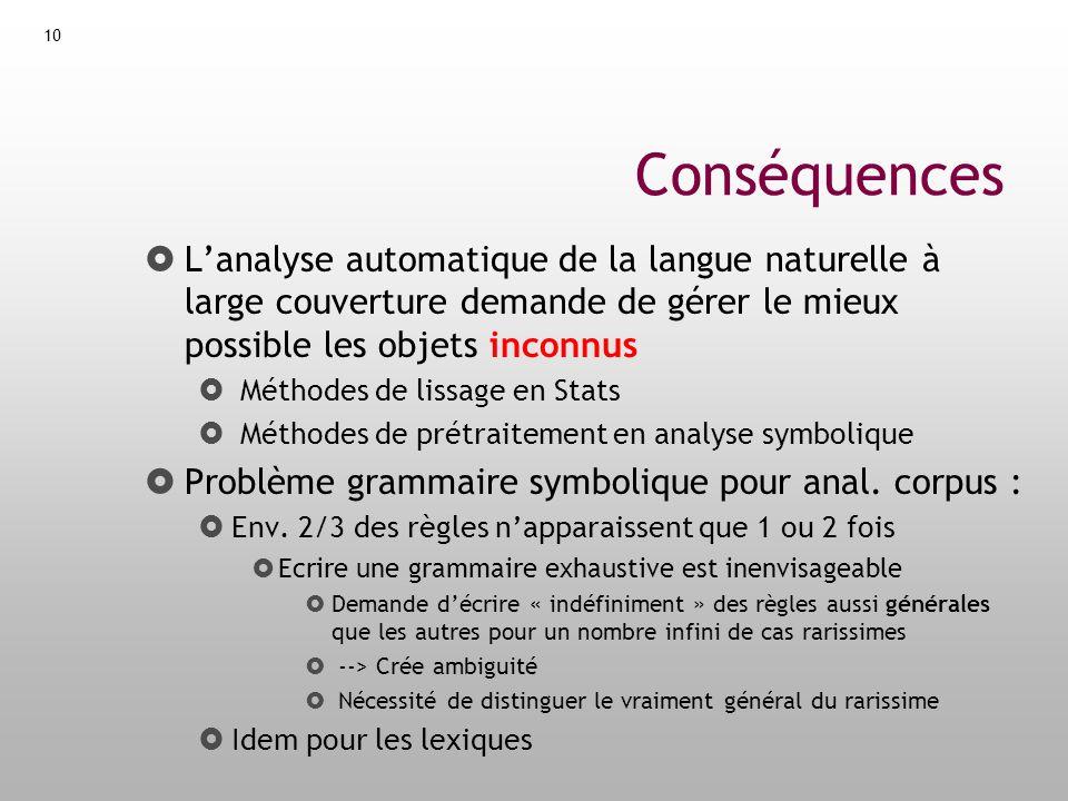 Conséquences L'analyse automatique de la langue naturelle à large couverture demande de gérer le mieux possible les objets inconnus.