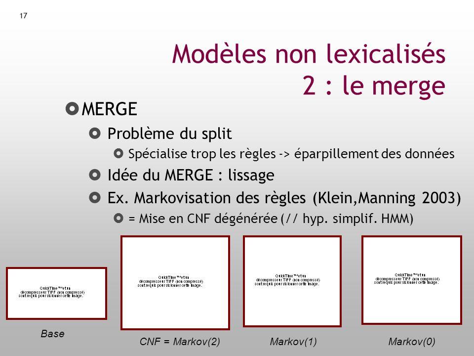 Modèles non lexicalisés 2 : le merge