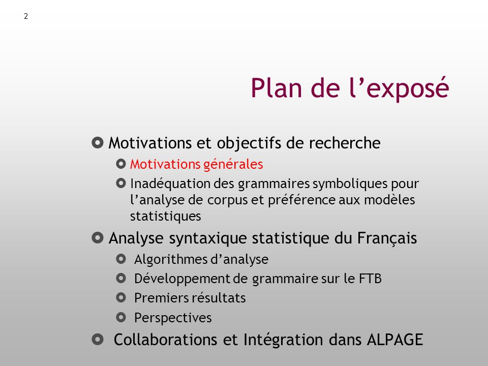 Analyse syntaxique profonde sur corpus ppt t l charger for Recherche de plan