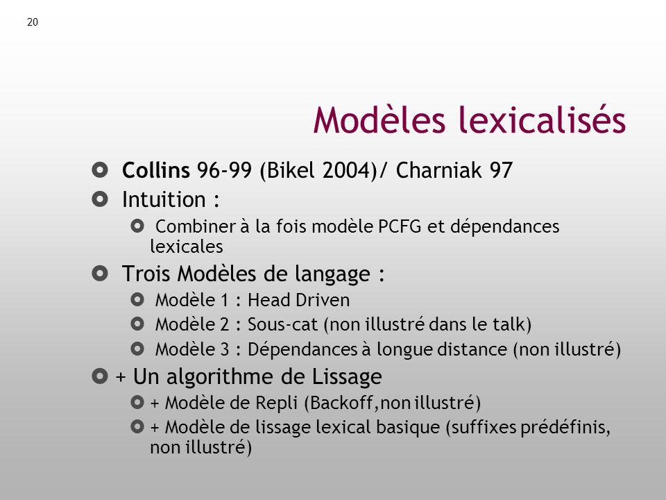 Modèles lexicalisés Collins 96-99 (Bikel 2004)/ Charniak 97
