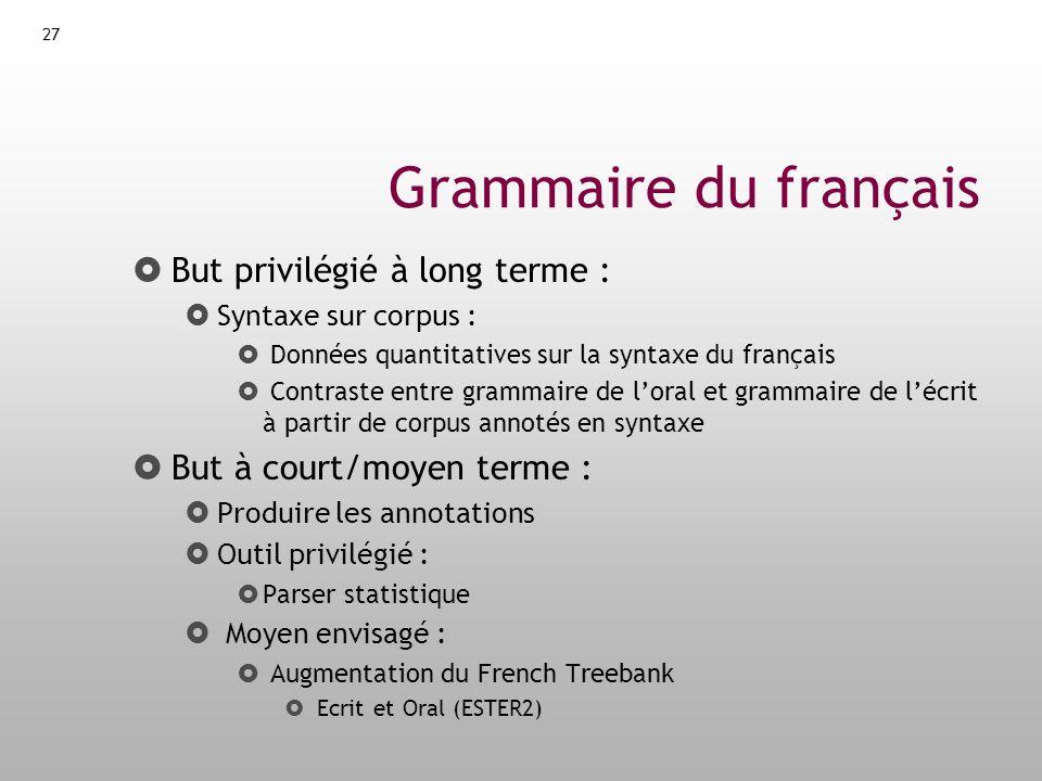 Grammaire du français But privilégié à long terme :